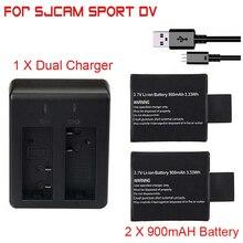 цена на 2pcs/set 3.7V 900mAh Battery + Dual Battery Charger for SJCAM SJ 4000 5000 SJ4000 SJ5000 SJ6000 Camera Accessories