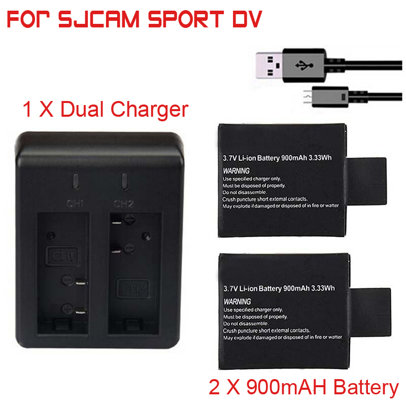 2pcs/set 3.7V 900mAh Battery + Dual Battery Charger for SJCAM SJ 4000 5000 SJ4000 SJ5000 SJ6000 Camera Accessories