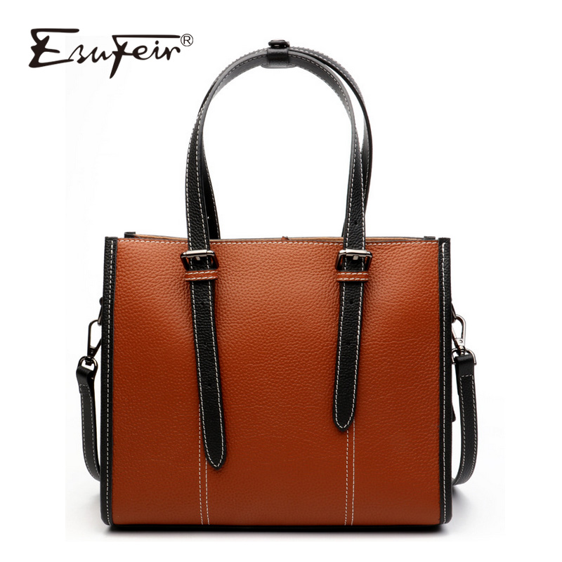 2018 ESUFEIR Genuine Leather Women Handbag Fashion Design Solid Color Women Shoulder Bag Famous Brand Bag Women Messenger Bag punk style solid color and rivets design women s shoulder bag