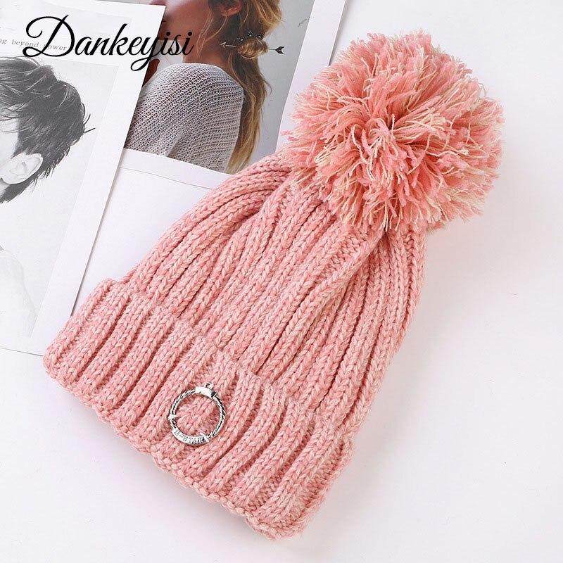 DANKEYISI Women's Winter Hat Knitted Winter Beanie Female Fashion Skullies Casual Thick Warm Hats Women Outdoor Mask Ski Caps