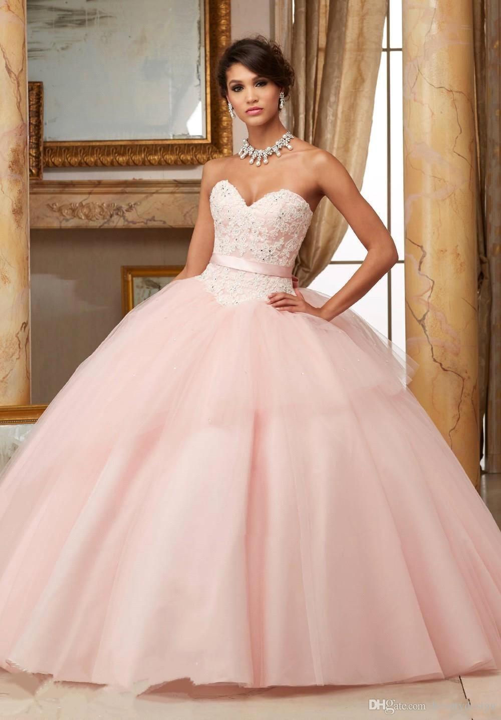 Light Pink Red Quinceanera Dresses 2017 Ball Gown Lace Appliques ...