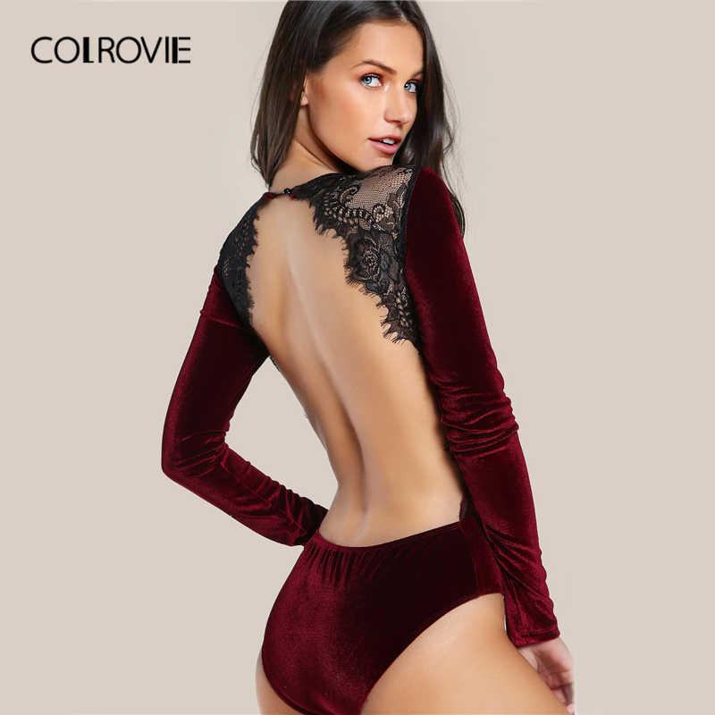 COLROVIE открытая спина кружево лоскутное боди Черный сексуальный тонкий женский клубный летний Боди с длинным рукавом обтягивающие Горячие Вечерние боди