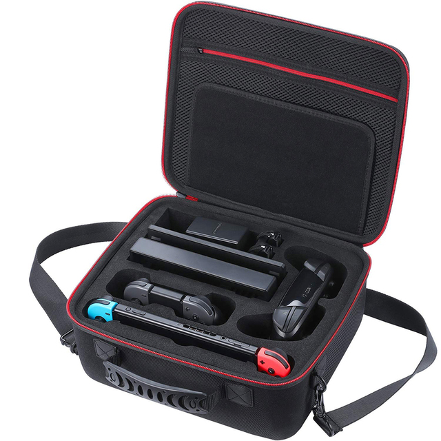 Nintend Switch Accessories Big Capacity EVA Portable Hard Bag Storage Carrying Case & Tempred Glass Film + Joy-con Handle Grips 1