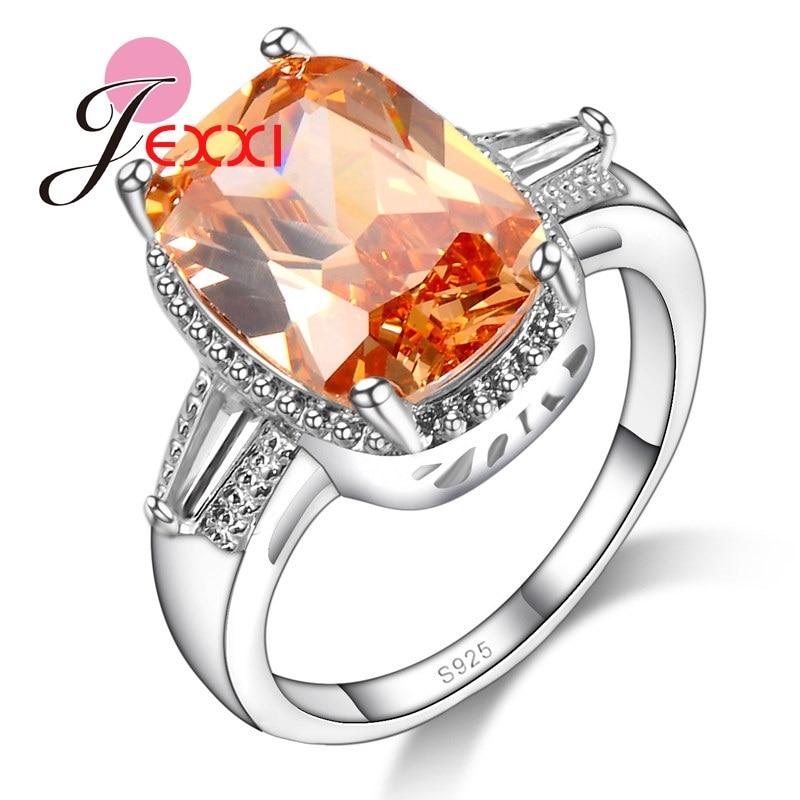 JEXXI Fashion Women Big Orange Crystal Wedding Jewelry Rings 925 Sterling Silver Lady Finger Rings Birthday Gift Wholesale