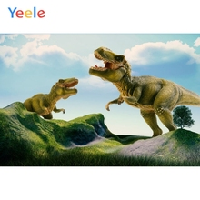 Yeele Vinyl Two Dinosaurs Open Mouth Children Birthday Party Photography Background Baby Photographic Backdrop Photo Studio