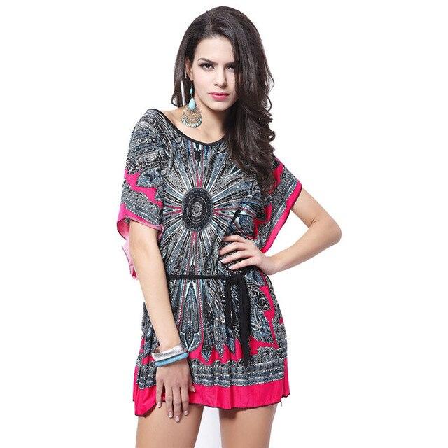 3fa5c56820cc 2017 Summer Dresses Floral Lovebird Print O-neck Mini Casual Dress Women  Bohemian Hippie Chic Vestidos Clothing FT278