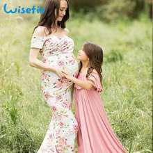 f7408e90aac Women Pregnancy Maxi Dress Floral Maternity Gown Dress For Photography  Summer Shooting Photo Sexy Pregnant Midi Dresses
