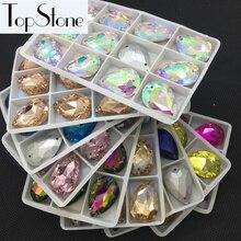 Pointback стеклянный кристалл в форме слезы Пришить камень в форме капель с разноцветными шнурками Цвета смешанные шитье бисера ювелирных изделий 10x14,13x18,18x25,20x30 мм