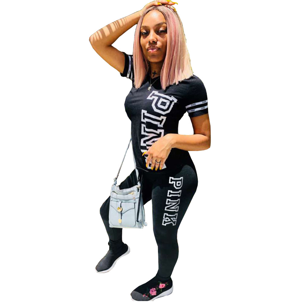 Women PINK Letter Casual 2 Piece Set Print Sexy Tops Skinny Pants Sweatsuits Two Piece Tracksuit Suit Streetwear Plus Size S-XL