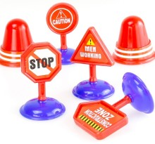 Children model scene early education toys signs road roadblocks learning road traffic warning(China)