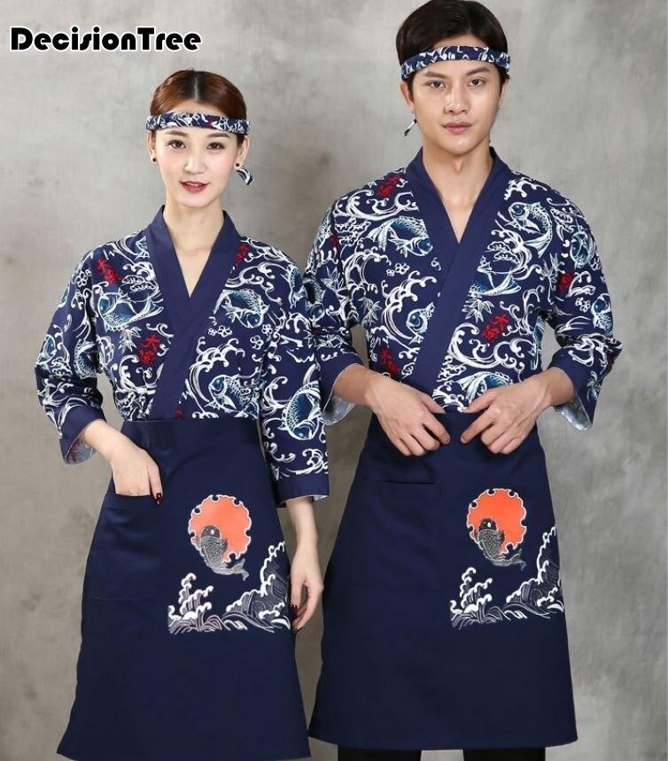 2020 Unisex Japanese Korea Style Medium Sleeve Cook Uniform Kimono Waiter Work Wear Chef Sushi Restaurant Overalls
