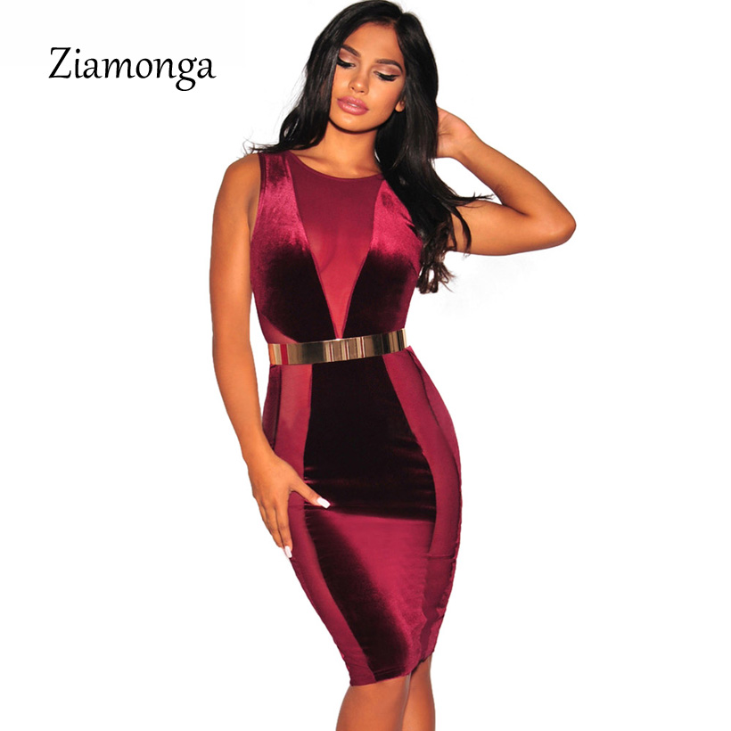 Ziamonga 2018 Winter New Fashion Bandage Dress M L Women Sexy Mesh Patchwork O-Neck Bodyocn Midi Dress Casual Velvet Dress