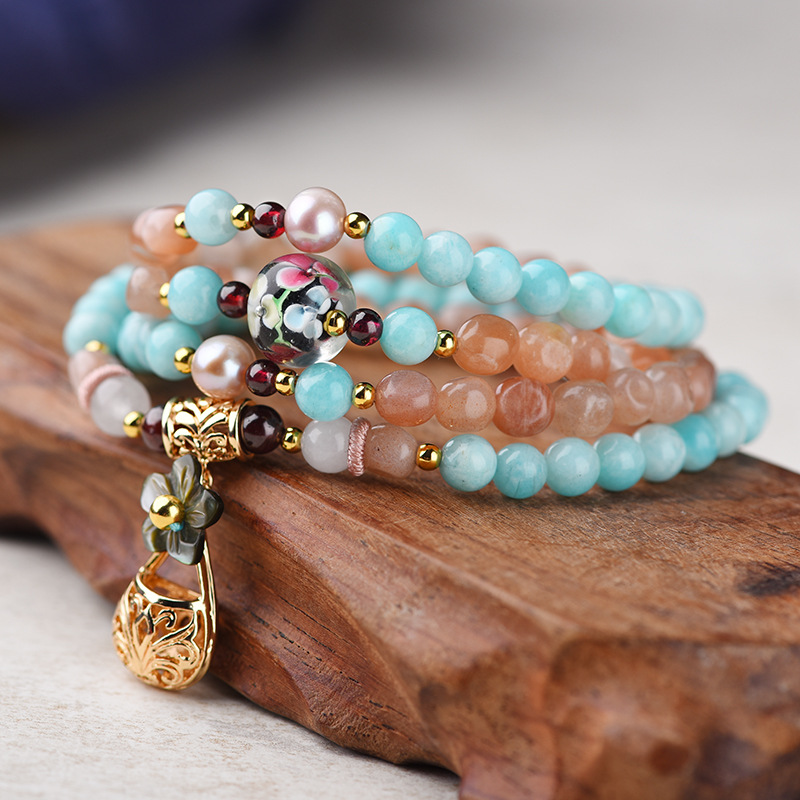 BOEYCJR 108 perles en pierre naturelle Bracelets et Bracelets bijoux faits à la main Tianhe bouddha perles énergie Yoga Bracelet pour femmes 2019