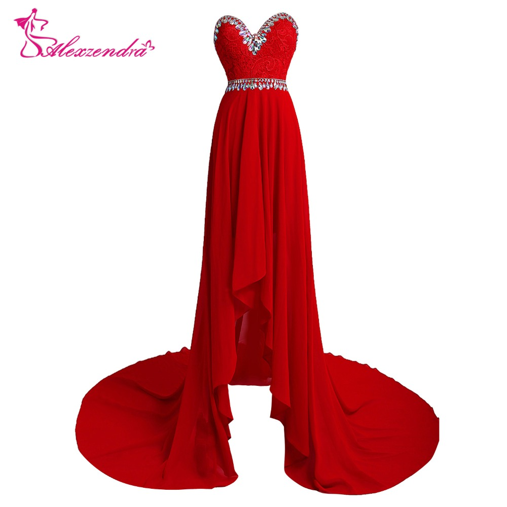 Alexzendra Red Beaded Sweetheart High Low   Prom     Dresses   Plus Size   Prom     Dresses   Party Gown