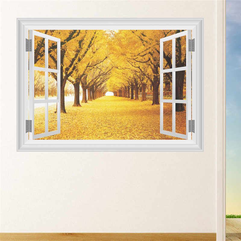 3d fenêtre automne paysage sticker mural stickers art décor à la maison salon chambre stickers mural décoration de la maison mural affiche