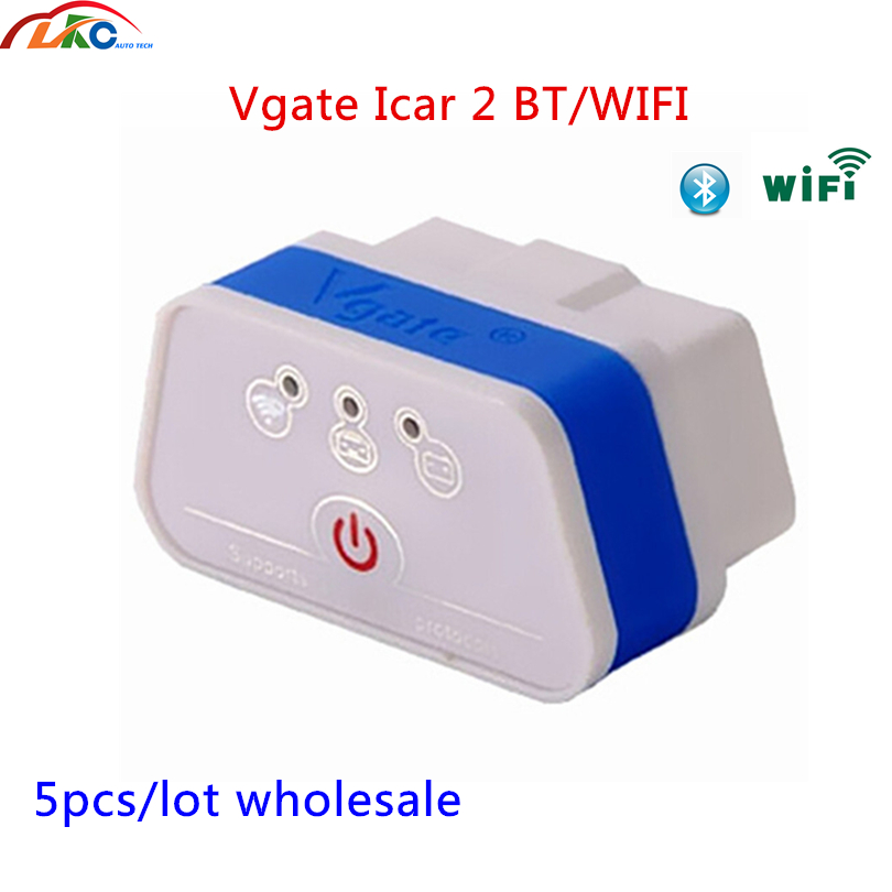 5 teile/los <font><b>Vgate</b></font> <font><b>ICar2</b></font> <font><b>ELM327</b></font> OBD OBD2 <font><b>V2.1</b></font> WIFI Bluetooth Scanner Diagnose-Tool Für Android/Iphone/PC/ ios kostenloser versand image