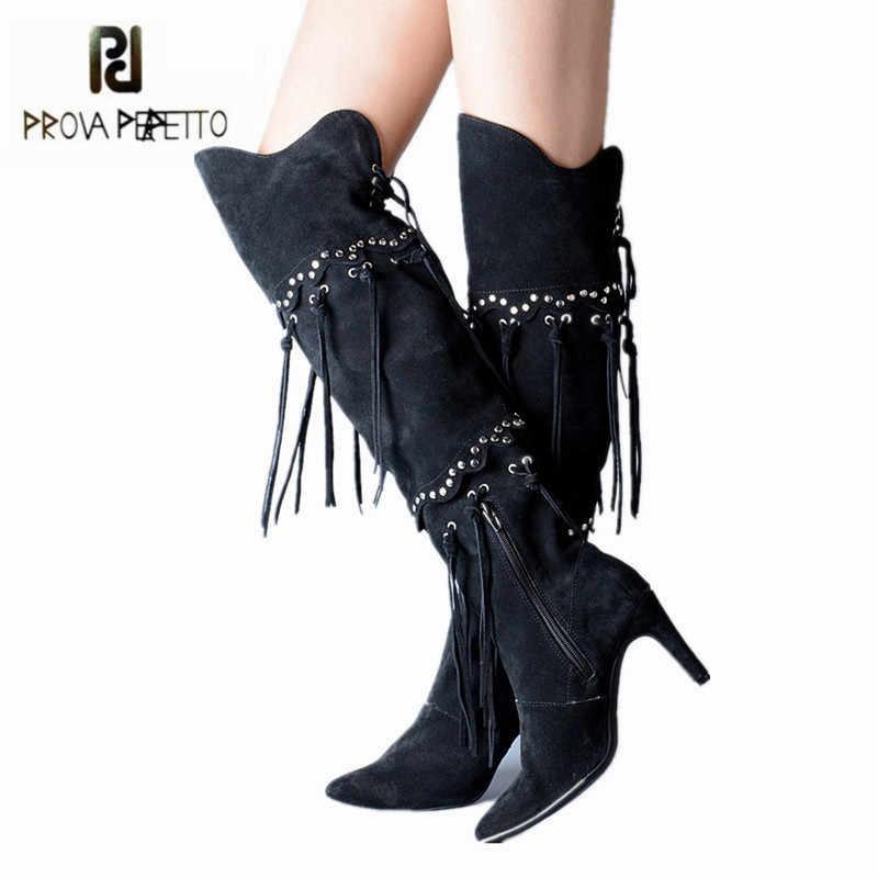 Prova Perfetto สีดำ Fringed ผู้หญิงต้นขาสูงรองเท้า Tassels เข่ารองเท้า Rivets ส้นยาง Botas Mujer