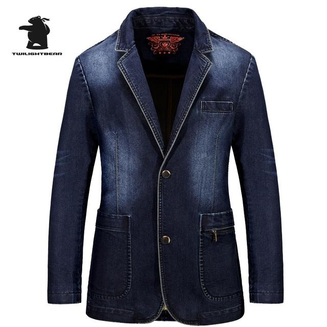 Hombres de la marca de Vaquero Casual Blazers Militar Diseñador de Moda Más El Tamaño de Alta Calidad 100% Algodón de Los Hombres Casual escudo Ocio D16E658