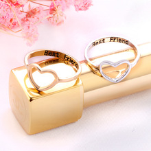 New fashion natural heart-shaped love ring gold silver pop party heart-to-heart men and women best gift