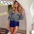 JYSS 2017 New arrival Fashion Women blouse Cotton Print V-neck shirt for spring autumn lacing Sexy Bohemian women blouse 9378