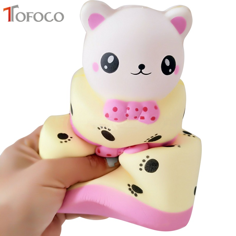 TOFOCO New Cute 14cm Three-Layer Bear Cake Squishy Jumbo Slow Rising Toys Antistress Soft Decor Kawaii Squishies Squeeze Scented
