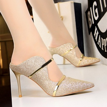 Slippers For Kids | Summer European American Fashion Elegant Ladies Thin High Heel Slippers Sequined Cloth 7 Colors Female Banquet Sandals Slippers