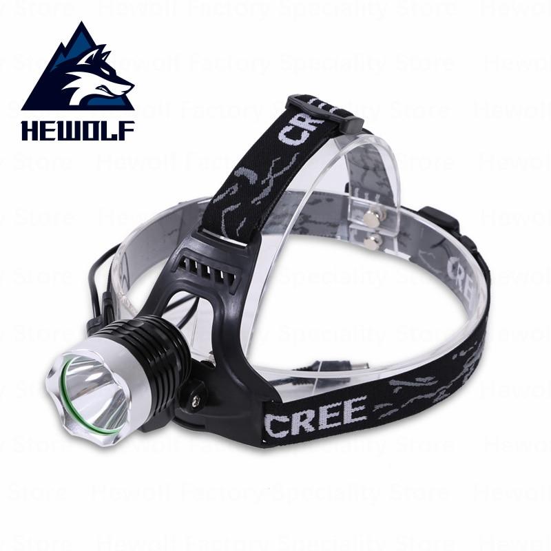 Hewolf extérieur LED phare T6 tête lampe de poche vélo lampe tête front lampe Camping pêche phare batterie ou chargeur