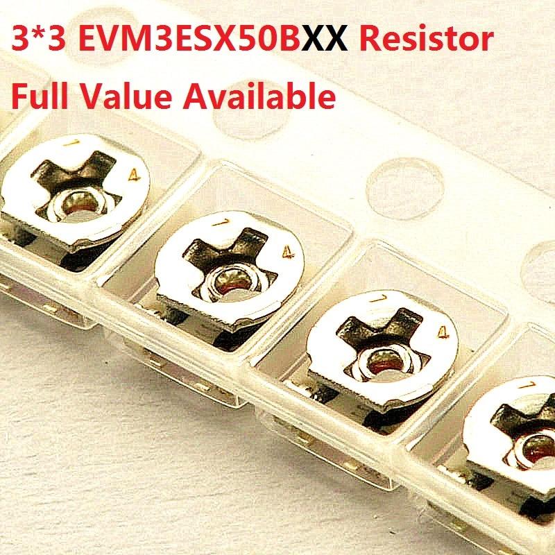 20PC Variable Resistor 3*3mm  SMD10K/1K/20K/50K/100K/3K/5K/2K Adjustable Trimmer Potentiometer EVM3ESX50B14/13/24/54/15/33/23/53
