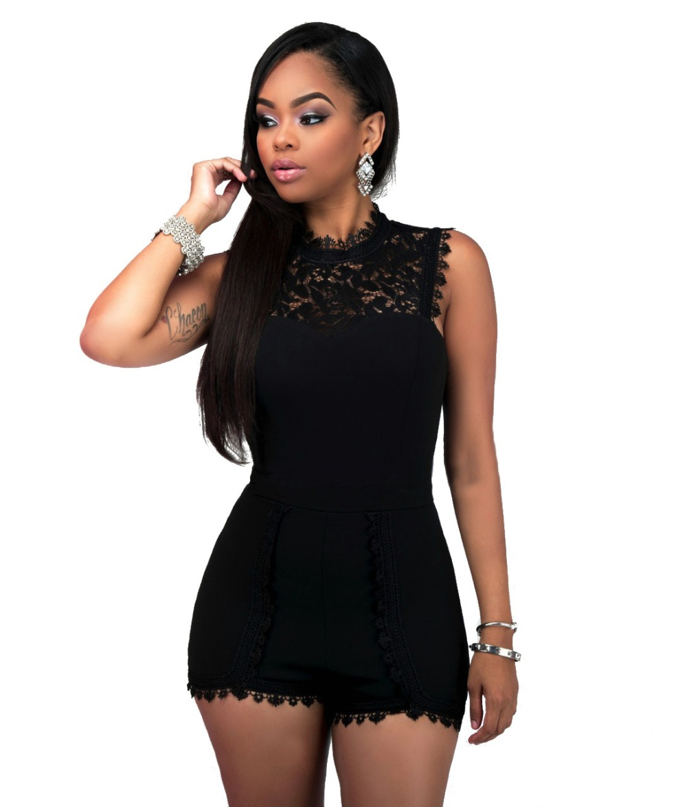 Adogirl 3XL Plus Size Black Jumpsuit New Summer Lace Patchwork Shorts Rompers Women Slee ...