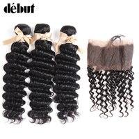 Joedir перуанский волос 12 до 26 дюймов глубокая волна волос 3 Связки с 360 Кружева Фронтальная человеческих волос Связки с закрытием