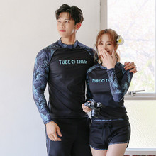 купить Rhyme Lady  long sleeve Rash guard swimwear for lovers sun protective bathing suit woman three pieces  man two pieces beachwear дешево