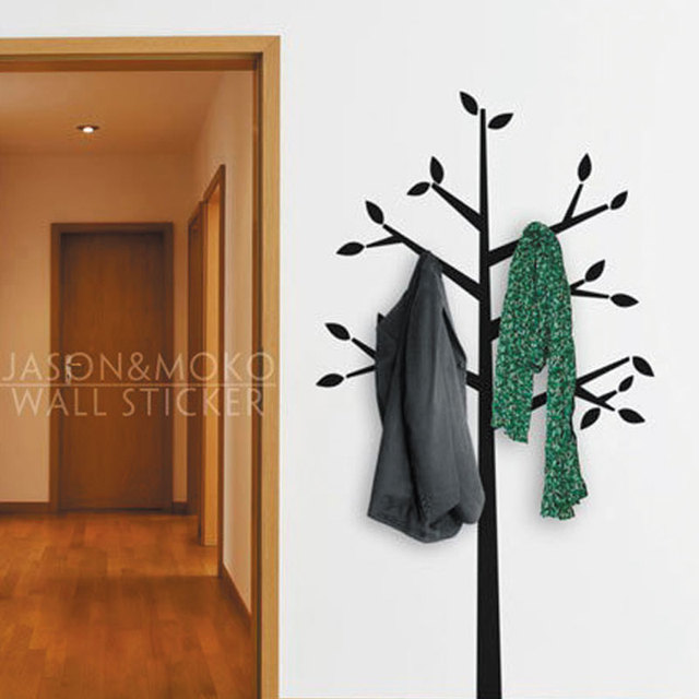 Coat Hanger Tall Tree Branches Leaf Wall Decal Home Decor Vinyl