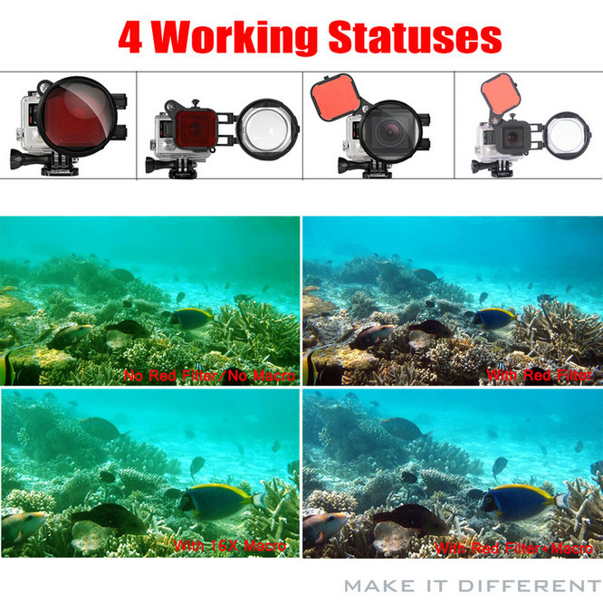Red Color Correction Filter + 16X Close Up Macro Lens for Gopro Go Pro Hero 4 3 3+ Housing Case Underwater Scuba Lens Filter Kit (2)
