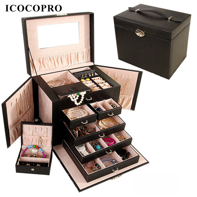Icocopro Professional Jewelry Box Necklace Earrings Ring