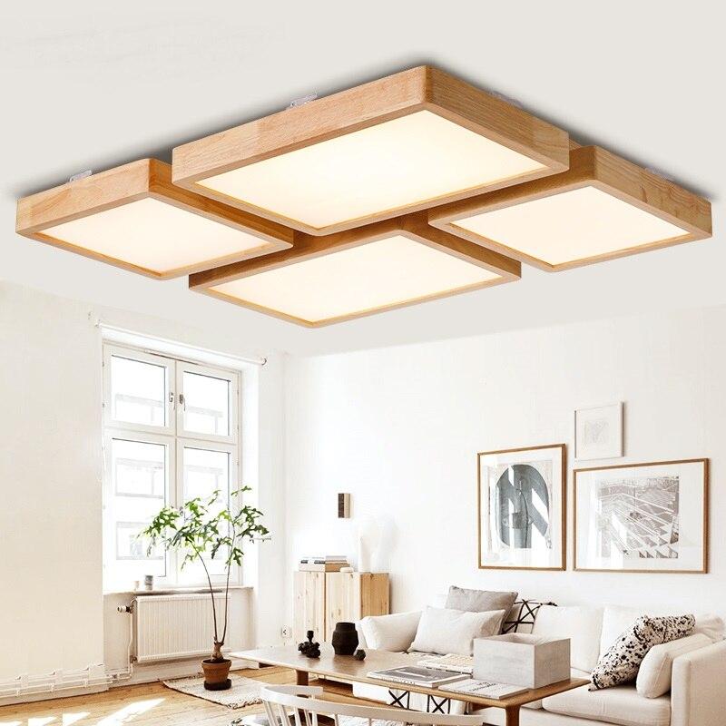 Простые деревянные светодио дный светодиодные потолочные светильники прямоугольные квадратные креативные гостиная спальня отель освещен
