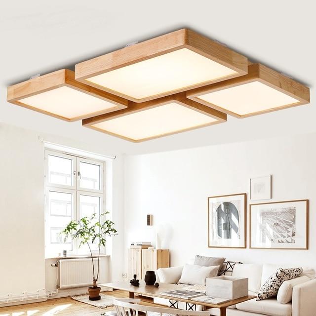 Deckenleuchten Schlafzimmer Holz #26: Einfache Holz LED Deckenleuchten Rechteckigen Platz Kreative Wohnzimmer  Schlafzimmer Hotel Beleuchtung Deckenleuchten ZA