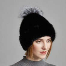 Womens Warm Winter Thick Double layer Fur Cap Real Natural Mink Hat With A Big fluffy Fox Ball On The Top