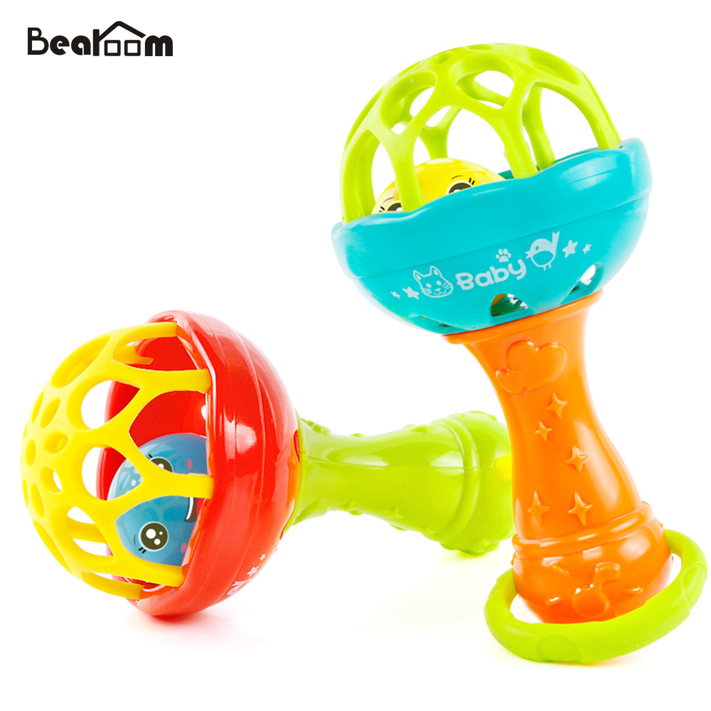 Bearoom Baby Rattles Mobiles Fuuny Baby Toys Intelligence Grasping Gums Soft Teether Plastic Hand Bell hammer Educational Gift baby rattles toys 8pcs teether music hand shake bed bell newborns plastic animal rattles gift educational baby toys 0 12 months