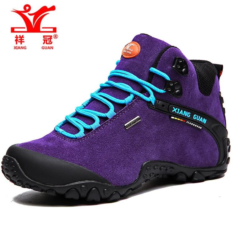 ФОТО XIANGGUAN Genuine Leather Shoes Men Cool Waterproof Breathable Outdoor Hiking Shoes Men Women Climbing Walking Trekking Shoes
