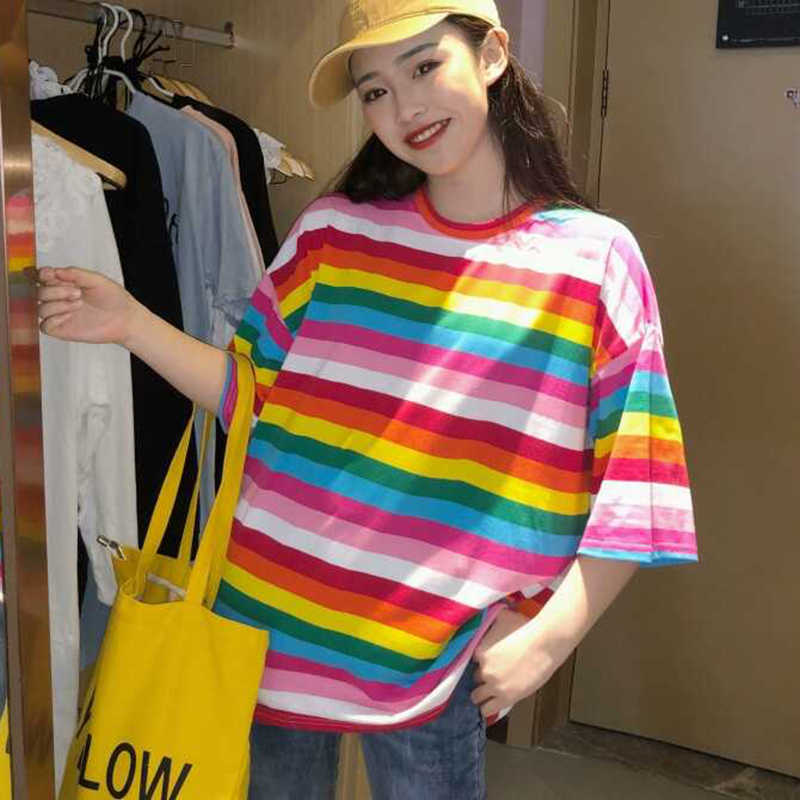 חדש T חולצת נשים קשת פסים חולצות Harajuku Tshirt קיץ קצר שרוול קוריאני פאנק חולצה camiseta feminina T8