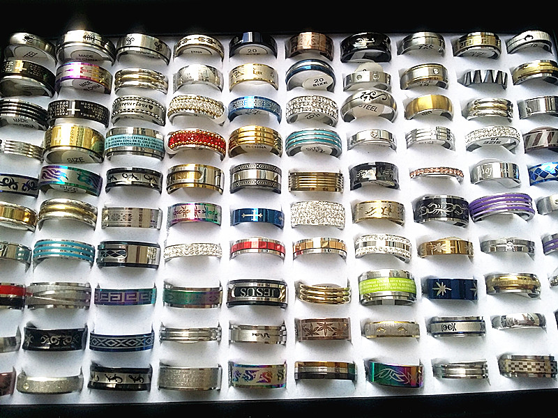 Wholesale bulk lots 100pcs rings mixed styles high quality stainless steel mens womens fashion wedding party