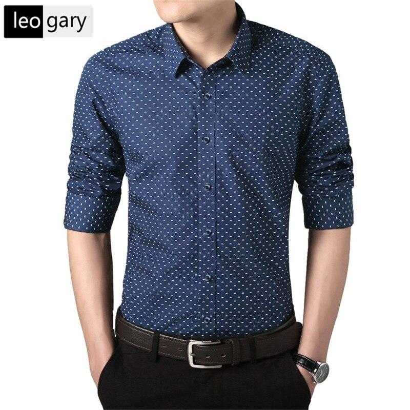 2017 new brand shirt men polka dot printed shirts social for Mens printed long sleeve shirts