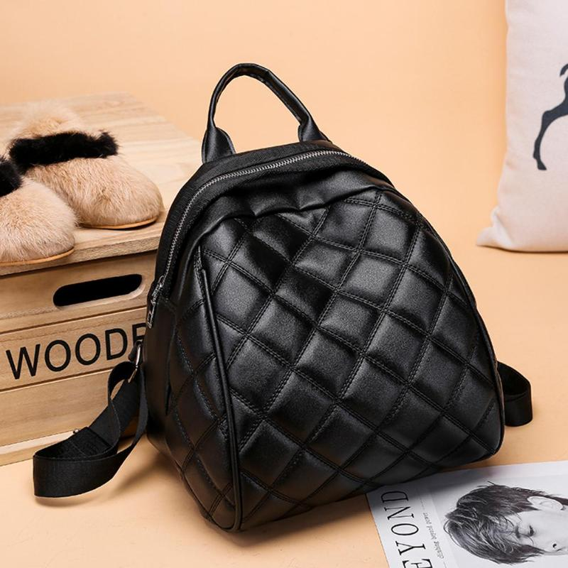 Diamond Lattice Women Mini PU Leather Backpack Casual Travel School Shoulder Bags For Teenagers Girls Mochila Feminina