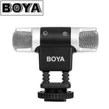 BOYA BY MM3 Dual Head Stereo Recording Condenser Microphone for iPhone 8 Android Smartphone DSLR Camera