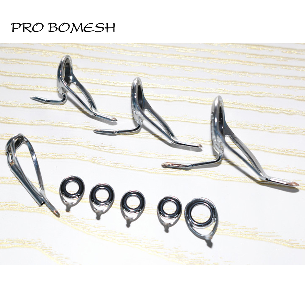 Pro Bomesh KW Casting Rod Guide Set SIC Ring Stainless Steel Guide DIY Custom Rod Building Accessory