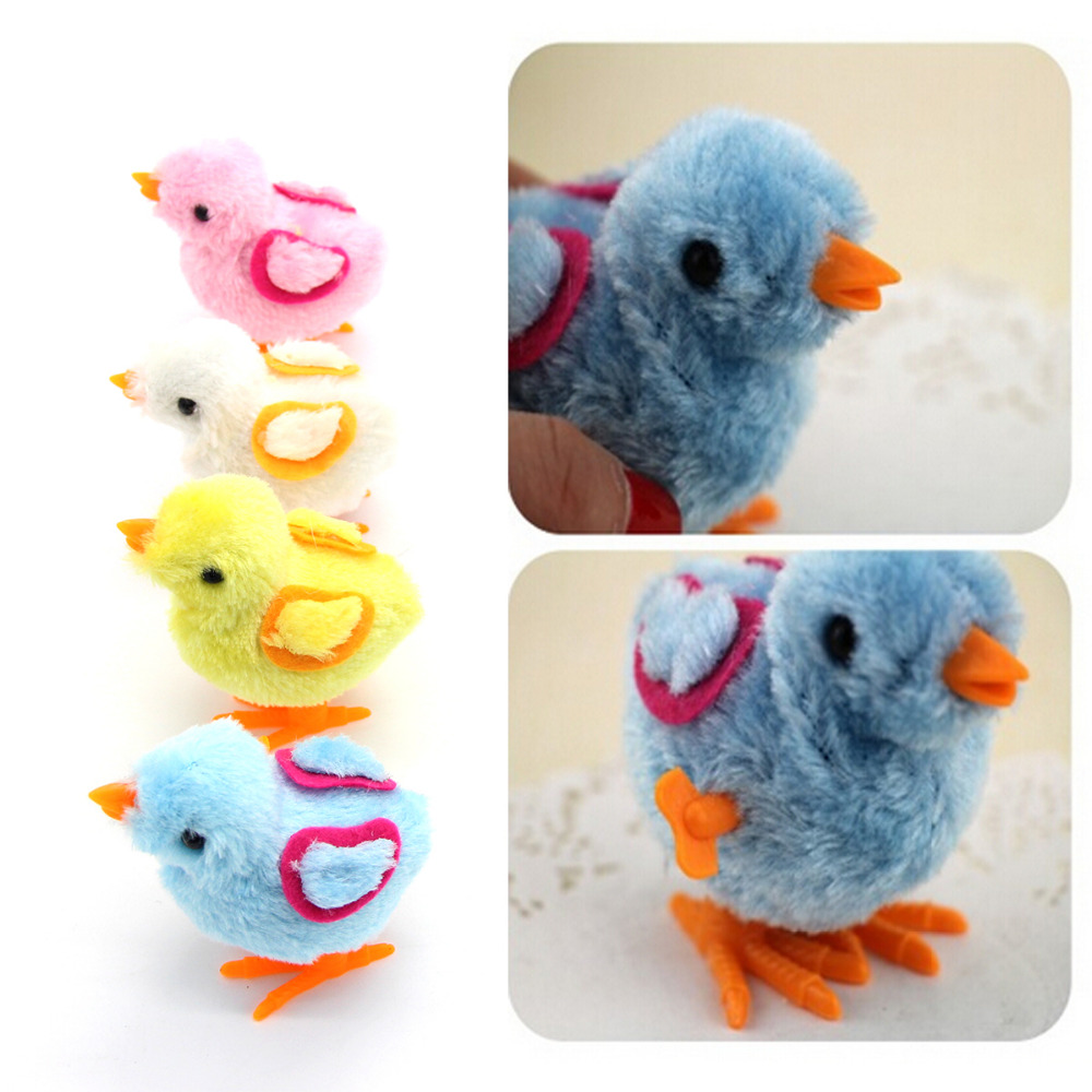 Cute Wind Up Easter Chick And Bunny Nice Hopping Plush Fluffy Rabbit