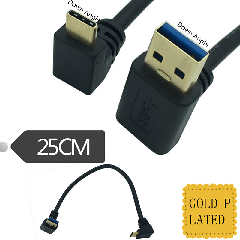 Gold Plated 90 Degree UP Down Angle USB 3.0 Male To USB3.1 Type-C Male Down /Up Angle USB Data Sync & Charge Cable Connector