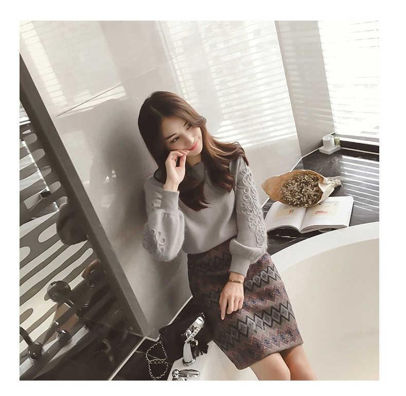 SMTHMA ผู้หญิงฤดูหนาวเย็บปักถักร้อยเกาหลีถักเสื้อ + 2 ชิ้น Tweed ขนสัตว์ 2 ชิ้นเรขาคณิตพิมพ์ชุดกระโปรง