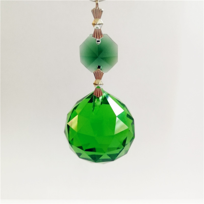 Hot Sale 10pieces 30mm Dark Green Crystal Hanging Ball Hanging Pendants with Octagon Beads For Chandeliers Glass Lighting Parts