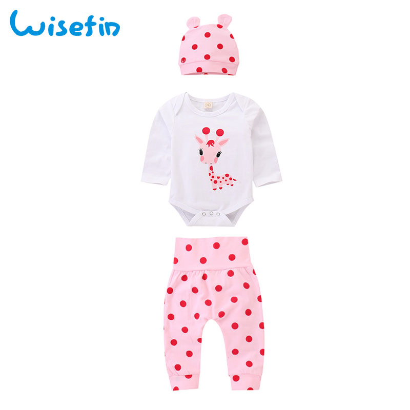 dabdf942e Wisefin Polka Dot Newborn Baby Girl Outfits Set Cute Giraffe Infant Girl  Clothing With Hat Winter Autumn Baby Clothes For Girl-in Clothing Sets from  Mother ...